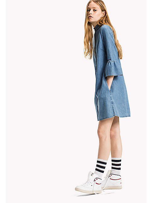TOMMY JEANS Denim Ruffled A-Line Dress - MID INDIGO - TOMMY JEANS Dresses & Jumpsuits - main image