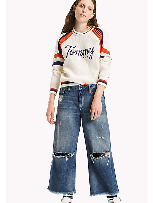 TOMMY JEANS Ski-Pullover aus Baumwoll-Mix - SNOW WHITE / MULTI - TOMMY JEANS Pullover & Strickjacken - main image