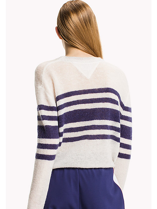 TOMMY JEANS Mohair Blend Striped Jumper - BRIGHT WHITE / BLUE RIBBON - TOMMY JEANS Knitwear - detail image 1