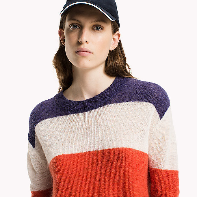 TOMMY JEANS Mohair Blend Striped Jumper - BRIGHT WHITE / BLUE RIBBON - TOMMY JEANS Clothing - detail image 2