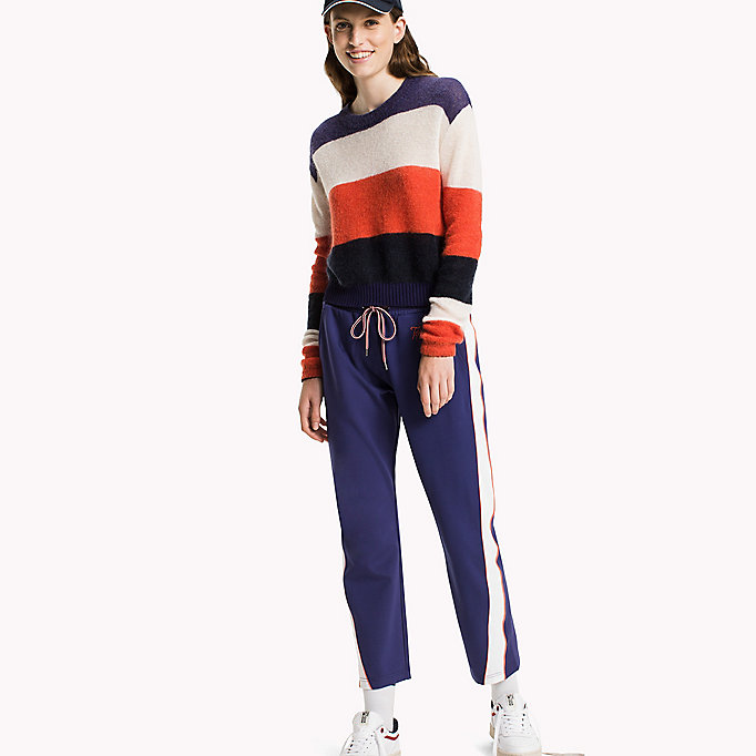TOMMY JEANS Mohair Blend Striped Jumper - BRIGHT WHITE / BLUE RIBBON - TOMMY JEANS Clothing - main image