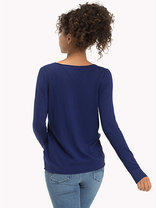 TOMMY JEANS Wool Viscose Blend V-Neck Jumper - BLUE RIBBON - TOMMY JEANS Knitwear - detail image 1