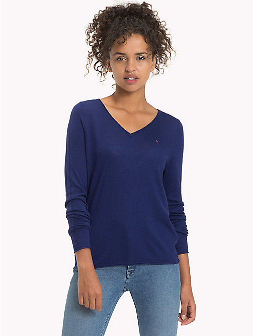 TOMMY JEANS Wool Viscose Blend V-Neck Jumper - BLUE RIBBON - TOMMY JEANS Knitwear - main image