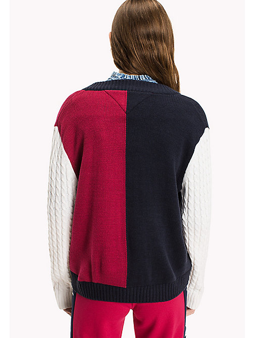 TOMMY JEANS Wool Blend V-Neck Jumper - NAVY BLAZER / MULTI - TOMMY JEANS Knitwear - detail image 1