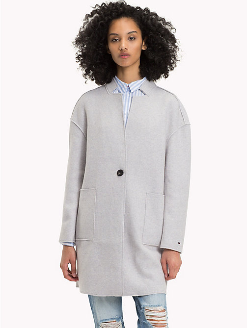 TOMMY JEANS Wool Blend Coat - LT GREY HTR - TOMMY JEANS Coats & Jackets - main image
