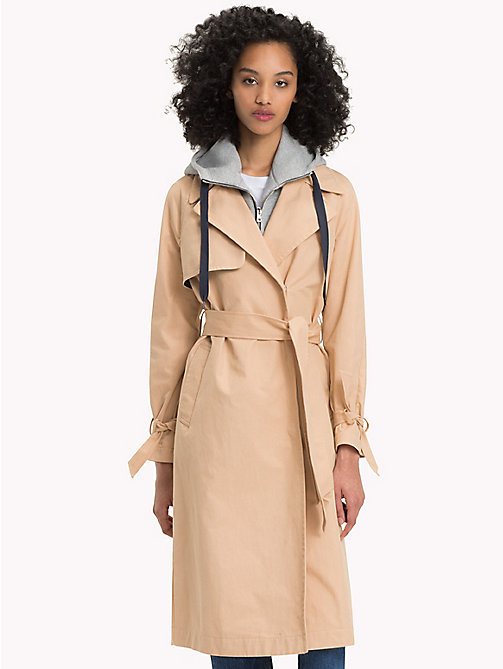 TOMMY JEANS Cotton Nylon Twill Trench Coat - GINGER ROOT - TOMMY JEANS Coats & Jackets - main image