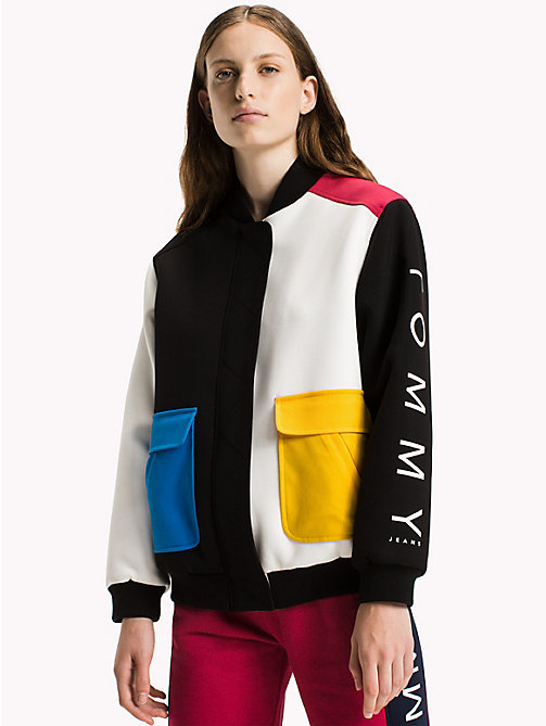 TOMMY JEANS Crepe Colour Block Bomber - BRIGHT WHITE / MULTI - TOMMY JEANS Coats & Jackets - main image