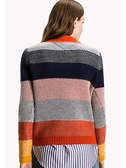TOMMY JEANS Cotton Blend Striped Jumper - SPICY ORANGE / MULTI - TOMMY JEANS Knitwear - detail image 1