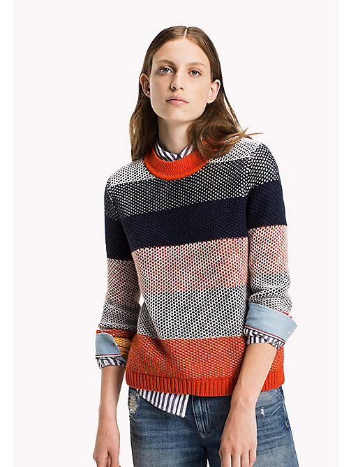 TOMMY JEANS Cotton Blend Striped Jumper - SPICY ORANGE / MULTI - TOMMY JEANS Knitwear - main image