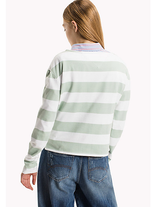 TOMMY JEANS Cotton Jersey Striped T-Shirt - BRIGHT WHITE / AQUA FOAM - TOMMY JEANS Women - detail image 1
