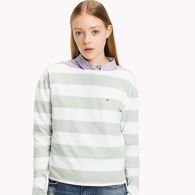 TOMMY JEANS Cotton Jersey Striped T-Shirt - BRIGHT WHITE / NAVY BLAZER - TOMMY JEANS Women - detail image 2