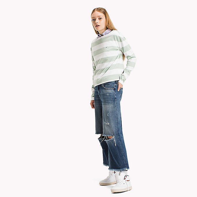 TOMMY JEANS Cotton Jersey Striped T-Shirt - BRIGHT WHITE / NAVY BLAZER - TOMMY JEANS Women - main image