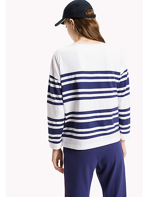 TOMMY JEANS Cotton Jersey Striped T-Shirt - RIBBON BLUE / BRIGHT WHITE - TOMMY JEANS Clothing - detail image 1