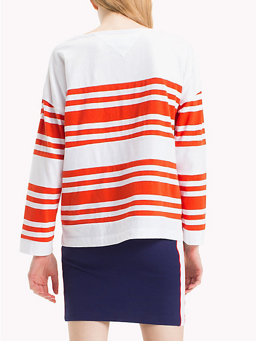 TOMMY JEANS Gestreept jersey katoenen T-shirt - SPICY ORANGE / BRIGHT WHITE - TOMMY JEANS Kleding - detail image 1