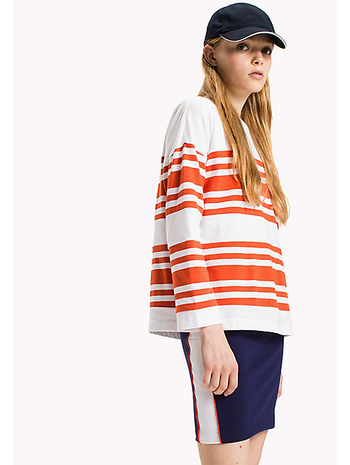 TOMMY JEANS Gestreept jersey katoenen T-shirt - SPICY ORANGE / BRIGHT WHITE - TOMMY JEANS Kleding - main image
