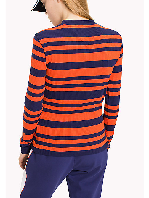 TOMMY JEANS T-shirt rayé en jersey coton - BLUE RIBBON / SPICY ORANGE - TOMMY JEANS Tops - image détaillée 1