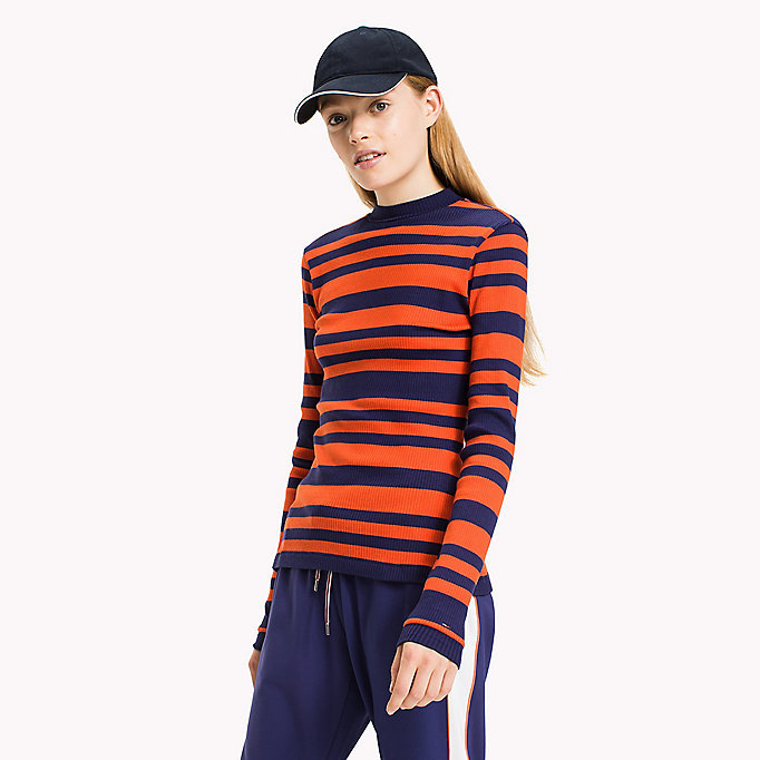 TOMMY JEANS Cotton Jersey Striped T-Shirt - BLUE RIBBON / BRIGHT WHITE - TOMMY JEANS Clothing - main image
