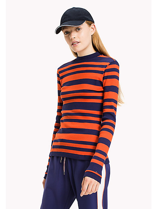 TOMMY JEANS T-shirt rayé en jersey coton - BLUE RIBBON / SPICY ORANGE - TOMMY JEANS Tops - image principale