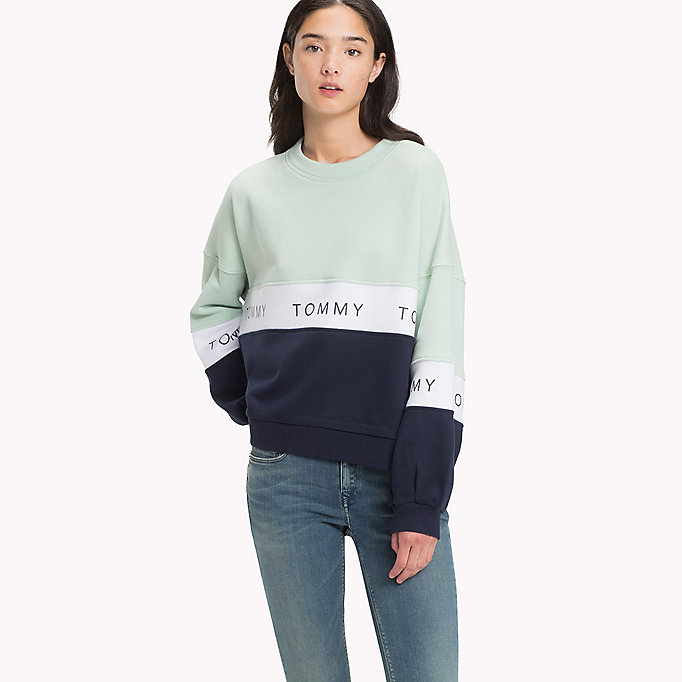 TOMMY JEANS Sudadera cropped felpa - LT GREY HTR / MULTI - TOMMY JEANS Ropa - imagen principal
