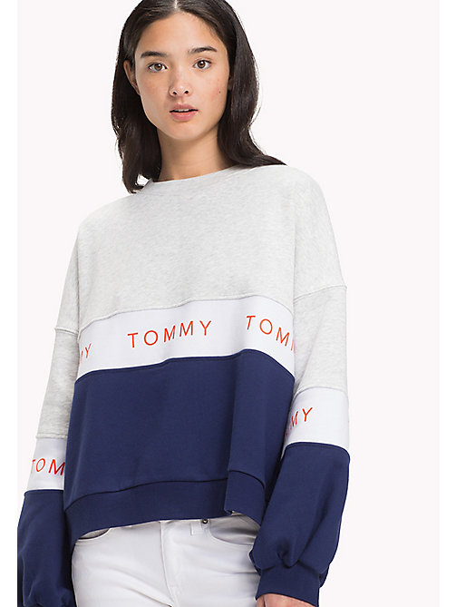 TOMMY JEANS Fleece Cropped Sweatshirt - LT GREY HTR / MULTI - TOMMY JEANS Clothing - main image