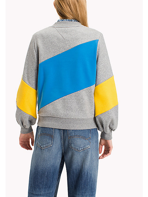 TOMMY JEANS Fleece Colour Block Sweatshirt - MID GREY HTR/MULTI - TOMMY JEANS Clothing - detail image 1