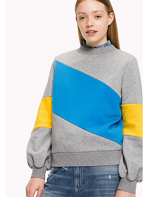 TOMMY JEANS Fleece colourblock sweatshirt - MID GREY HTR / MULTI - TOMMY JEANS TEST PARENT - main image