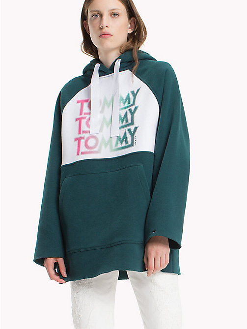 TOMMY JEANS Oversized Fleece-Kapuzenjacke - SEA MOSS / BRIGHT WHITE - TOMMY JEANS Sweatshirts & Kapuzenpullover - main image