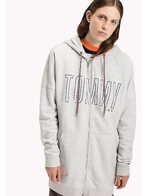 TOMMY JEANS Fleece Long Hoodie - LT GREY HTR - TOMMY JEANS Sweatshirts & Hoodies - main image