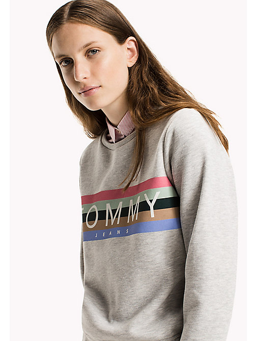 TOMMY JEANS Fleece Logo Sweatshirt - LT GREY HTR - TOMMY JEANS Sweatshirts & Hoodies - main image