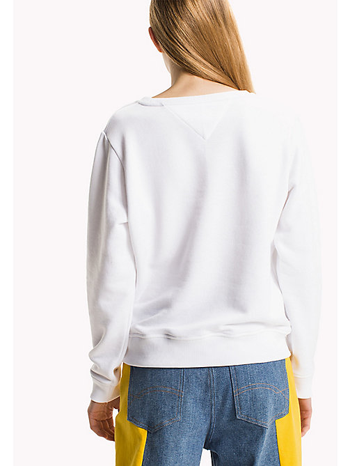 TOMMY JEANS Fleece Logo Sweatshirt - BRIGHT WHITE - TOMMY JEANS Sweatshirts & Hoodies - detail image 1