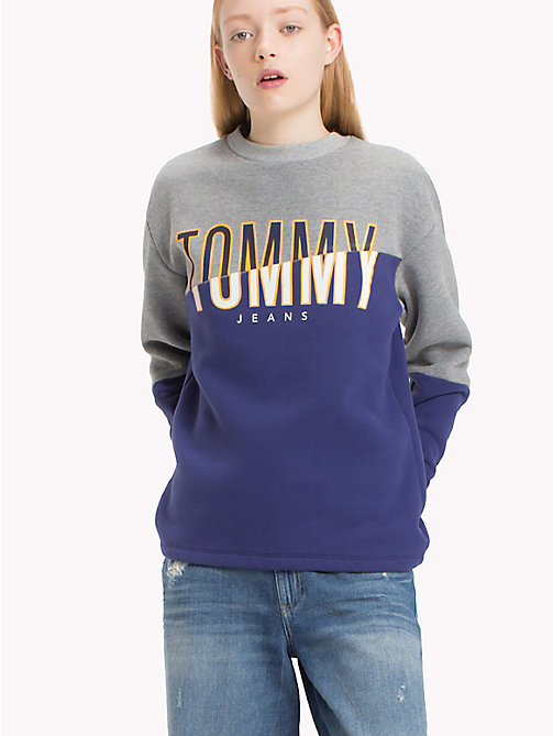 TOMMY JEANS Peached Fleece Logo Sweatshirt - BLUE RIBBON / MID GREY HTR - TOMMY JEANS Sweatshirts & Hoodies - main image