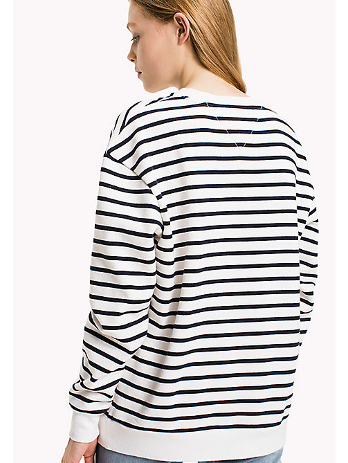 TOMMY JEANS Fleece Striped Sweatshirt - SNOW WHITE / NAVY BLAZER - TOMMY JEANS Sweatshirts & Hoodies - detail image 1