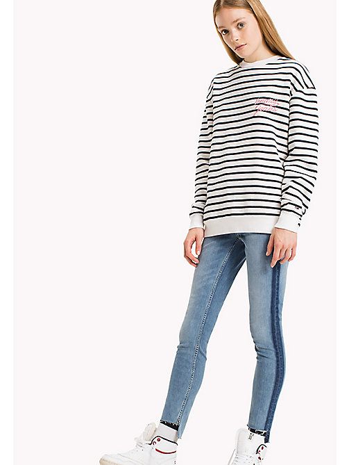 TOMMY JEANS Fleece Striped Sweatshirt - SNOW WHITE / NAVY BLAZER - TOMMY JEANS Sweatshirts & Hoodies - main image
