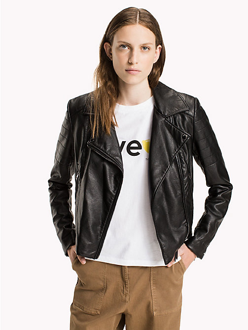 TOMMY JEANS Faux Leather Fitted Biker Jacket - BLACK BEAUTY - TOMMY JEANS Coats & Jackets - main image