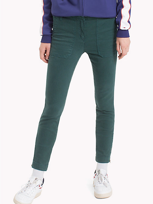 TOMMY JEANS Cotton Blend Cargo Pants - SEA MOSS - TOMMY JEANS Trousers - main image