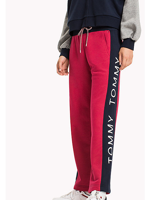 TOMMY JEANS Fleece Straight Sweatpants - PERSIAN RED / MULTI -  Trousers - main image