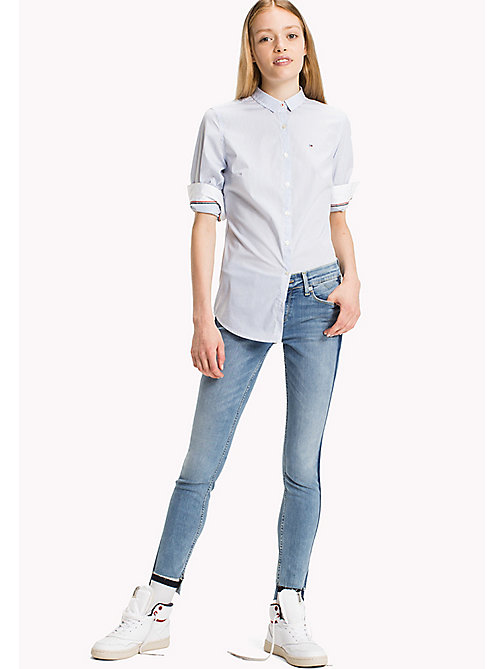 TOMMY JEANS Cotton Poplin Striped Shirt - SERENITY BLUE / BRIGHT WHITE - TOMMY JEANS Tops - main image