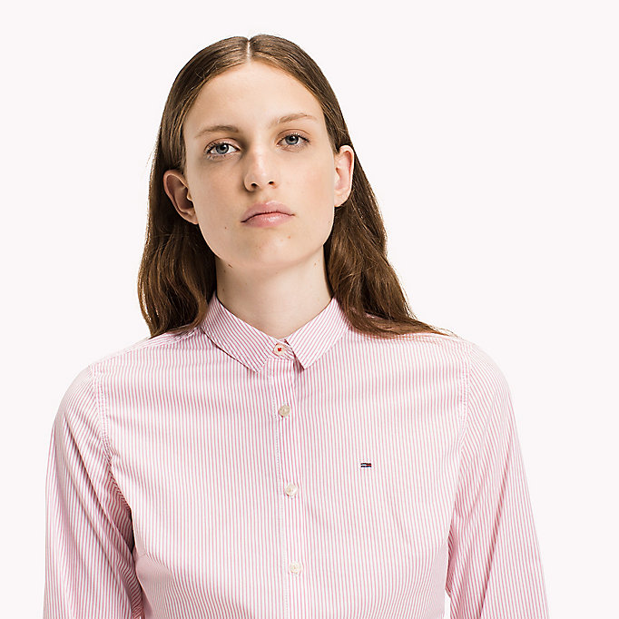 TOMMY JEANS Cotton Poplin Striped Shirt - SERENITY BLUE / BRIGHT WHITE - TOMMY JEANS Clothing - detail image 2