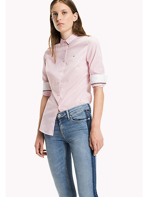 TOMMY JEANS Cotton Poplin Striped Shirt - CONFETTI / BRIGHT WHITE - TOMMY JEANS Tops - main image