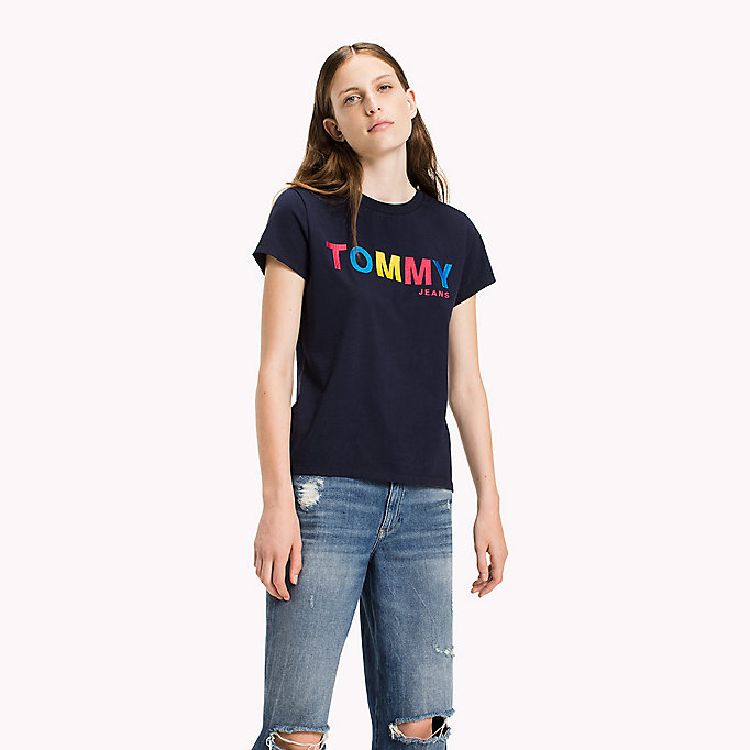 TOMMY JEANS Cotton Jersey Embroidered T-Shirt - BRIGHT WHITE - TOMMY JEANS Women - main image