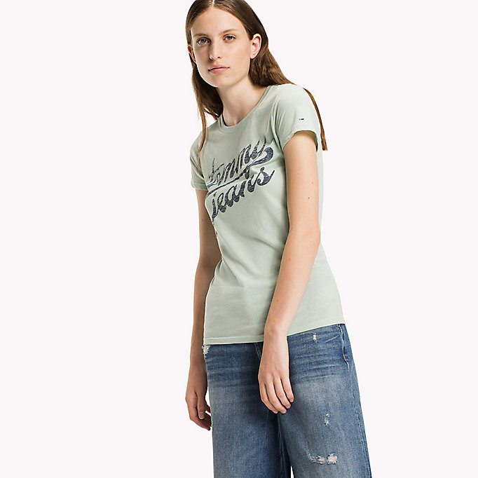 TOMMY JEANS Organic Cotton Blend Fitted T-Shirt - BRIGHT WHITE - TOMMY JEANS Women - main image