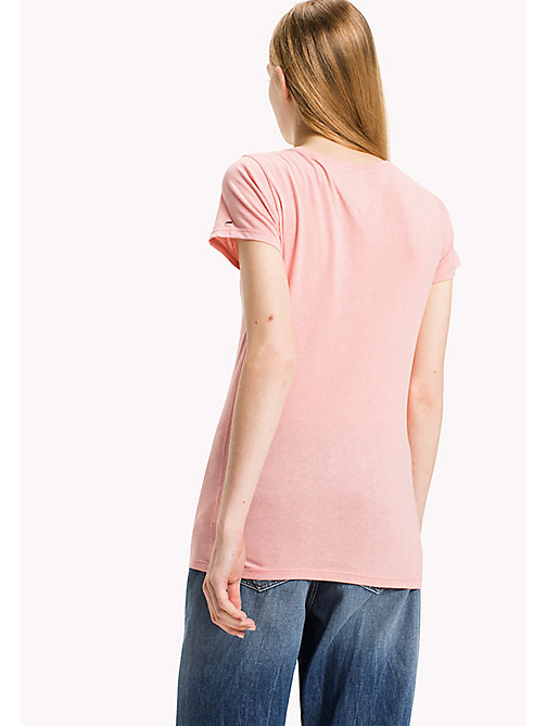 TOMMY JEANS Organic Cotton Blend Fitted T-Shirt - BLUSH - TOMMY JEANS Tops - detail image 1