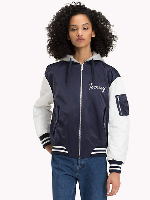 TOMMY JEANS Nylon Blend Hooded Bomber - NAVY BLAZER / BRIGHT WHITE - TOMMY JEANS Coats & Jackets - main image