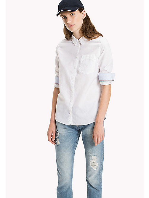 TOMMY JEANS Cotton Regular Shirt - BRIGHT WHITE - TOMMY JEANS Tops - main image