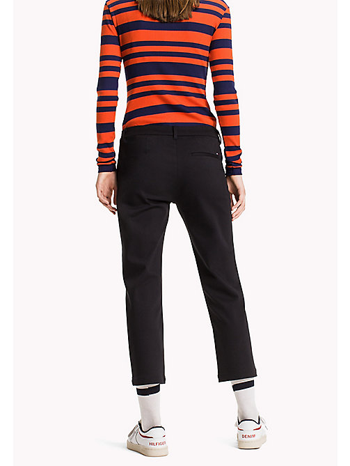 TOMMY JEANS Cotton Modal Straight Trousers - BLACK BEAUTY - TOMMY JEANS Trousers - detail image 1