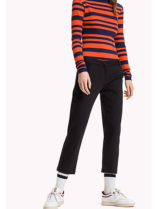 TOMMY JEANS Cotton Modal Straight Trousers - BLACK BEAUTY - TOMMY JEANS Trousers - main image