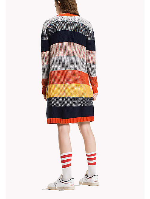 TOMMY JEANS Cotton Blend Striped Cardigan - SPICY ORANGE / MULTI - TOMMY JEANS Knitwear - detail image 1