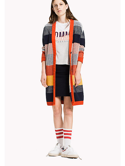 TOMMY JEANS Cotton Blend Striped Cardigan - SPICY ORANGE / MULTI - TOMMY JEANS Knitwear - main image