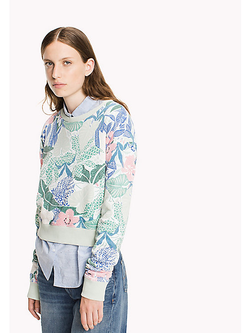 TOMMY JEANS Terry Cropped Sweatshirt - BOTANICAL PRINT - TOMMY JEANS Clothing - main image