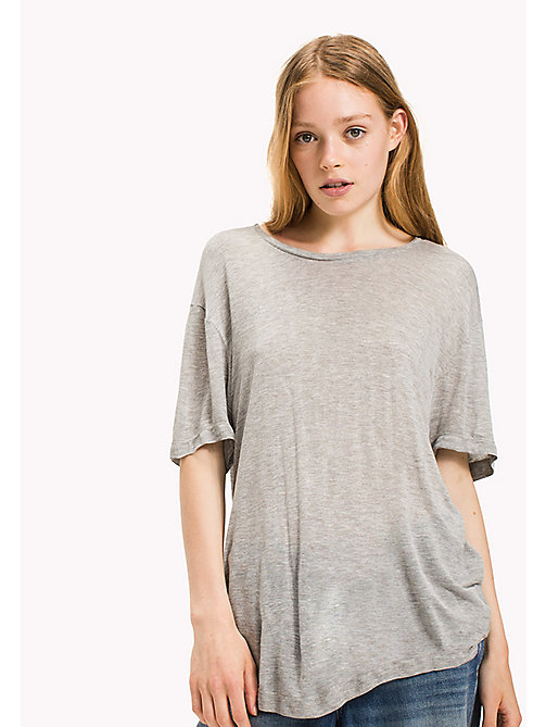 TOMMY JEANS Viscose Boyfriend T-Shirt - LT GREY HTR - TOMMY JEANS Tops - main image